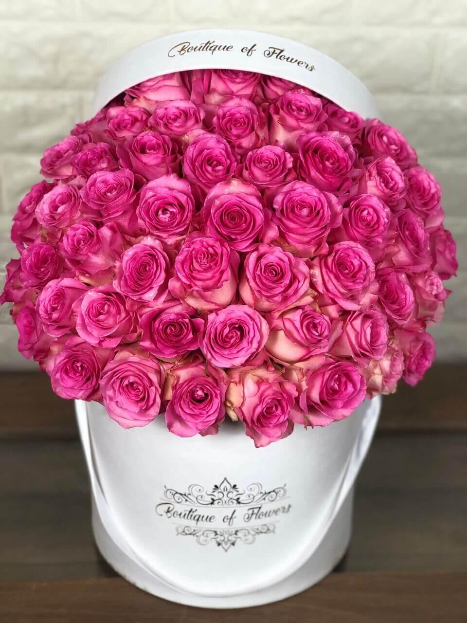 50 bright pink rose round box